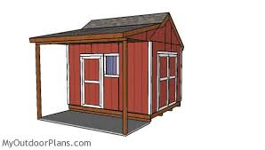 10x12 gable shed with porch roof plans myoutdoorplans free