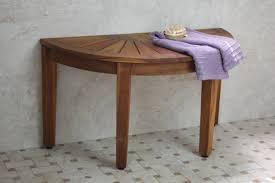 half round corner teak bench on faux plaid pattern tile floor