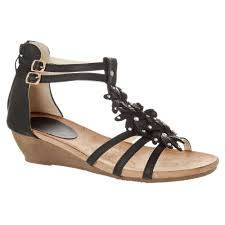 low wedge sandal with ankle strap and zip back miss diva from