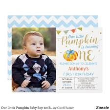 Baby Boy First Birthday Invitation Cards Our Little Pumpkin Baby Boy Chevron Blue 1st Birthday Custom Photo