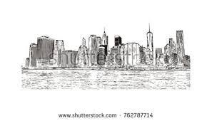 american cities skylines hand drawn set stock vector 159589808