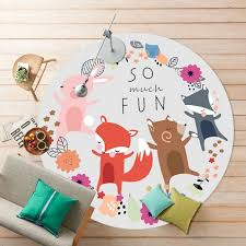 Kid Play Rug Fox Elephant Non Slip Mat Flannel Blanket Floor
