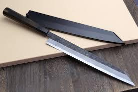 handmade japanese kitchen knives yoshihiro hongasumi white steel hammered black forged yanagi