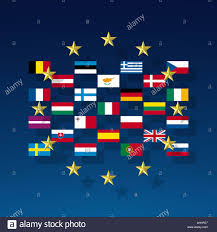 Union Of The Flag The Circle Of Stars And The Flags Of The Member Nations Of The Eu