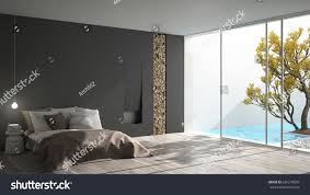 Minimalist Modern Design Minimalist Modern Bedroom Big Window Showing Stock Illustration