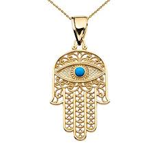 hamsa eye necklace images 10k yellow gold hamsa hand with blue evil eye pendant necklace jpg