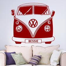 personalised vw camper van big paw print wall art