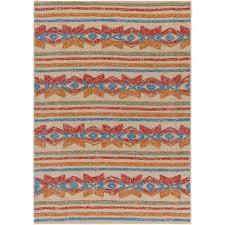 Poppy Kitchen Rug Artistic Weavers Mayan Star Hand Tufted Poppy Red Tangerine