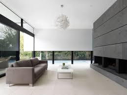 interior open space living and dining room with long glass wall