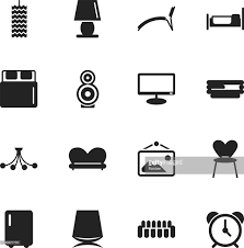 home interior silhouette icons vector art getty images