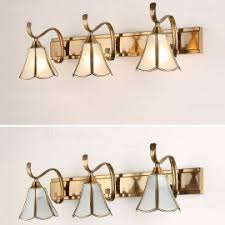 Antique Brass Bathroom Vanity Lights Classic Antique Copper White Glass Square Shade Indoor Lighting
