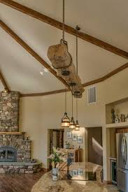 Kitchen Island Lights by Rustic Reclaimed Wood Beam Over Kitchen Island With Hanging