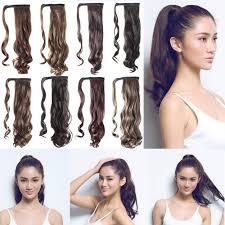ponytail with extensions s noilite new 18 45cm curly ash wrap