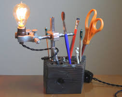 Desk Organizer Lamp Modren Rustic Wooden Desk Organizer Office Desktop Caddy With
