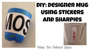 diy designer mug using stickers and sharpies youtube
