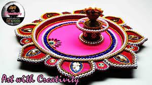 diy how to make decorated thali handmade thali puja thali