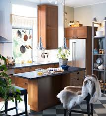 cool ikea small modern kitchen design ideas with brown cabinet and