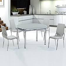 table de cuisine ronde en verre ensemble table ronde en verre extensible et ses 4 chaises grises
