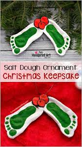 mistletoe footprint ornament made with salt dough dough