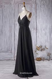 black bridesmaid dresses v neckline with spaghetti straps black chiffon wedding party