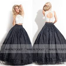 and white ball gown two piece long prom dresses lace tulle jewel