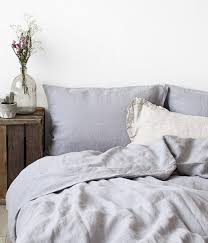 light grey stone washed linen duvet cover