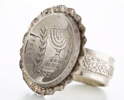 old rings silver images Israeli 1 2 lira old coin ring sterling silver menorah ring jpg