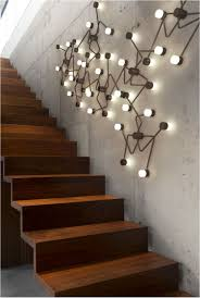 Staircase Wall Decorating Ideas Decoration Stair Wall Design With Wall Paint With Lighting