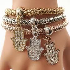 lade luxo novas mulheres da moda hamsa pulseira luxo cristal pulseira