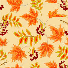seamless texture rowanberry and maple leaves autumn thanksgiving