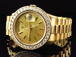diamond rolex rolex mens 36 mm rolex president 18038 with diamond bezel and gold