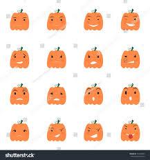 halloween pumpkin icons set emotion variation stock vector