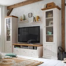 Wohnzimmerschrank Massivholz Massivholz Wohnwand Vagenta In Weiß Pharao24 De