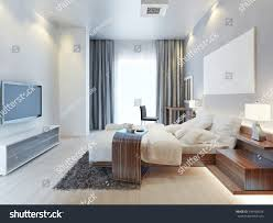 design bedroom contemporarystyle room wooden furniture stock