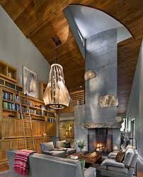 marvelous home library design with grey sofa and chairs at