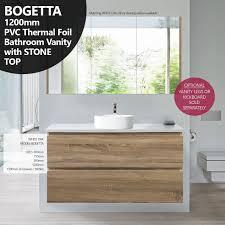 Pvc Vanity Bogetta 1200mm White Oak Pvc Thermal Foil Timber Wood Grain