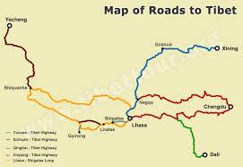 map of roads tibet road map road map of tibet