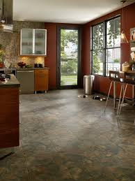kitchen and dining room flooring with travertine tile floor