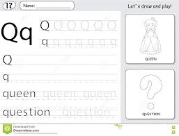 cartoon queen and question alphabet tracing worksheet writing