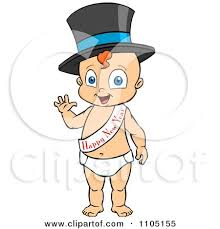 baby new year sash clipart happy baby standing waving and wearing a top hat and new