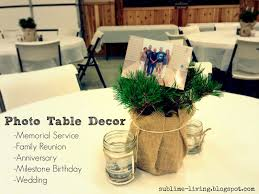 have simple photo centerpieces at the funeral reception