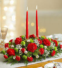 Christmas Floral Table Centerpieces by