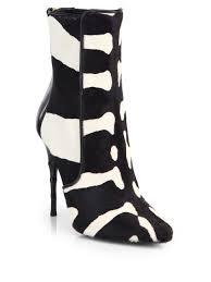 womens zebra boots balmain zebra print calf hair booties lyst