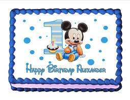 amazon com edible cake topper baby mickey mouse baby u0027s 1st