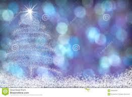beautiful christmas tree snow background blue purple stock