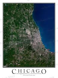Satellite View Map Chicago Il Satellite Map Print Aerial Image Poster