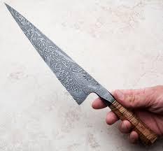 boxelder integral damascus chef knife 242mm handmade by saul