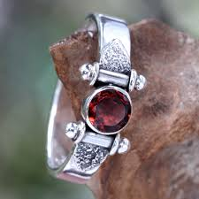 eye rings jewelry images Modern sterling silver garnet ring mystical eye novica jpg