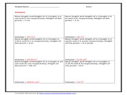 volume of triangular prism 7th 10th grade worksheet lesson planet
