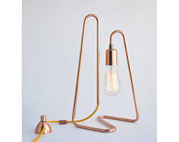 copper table lamp etsy